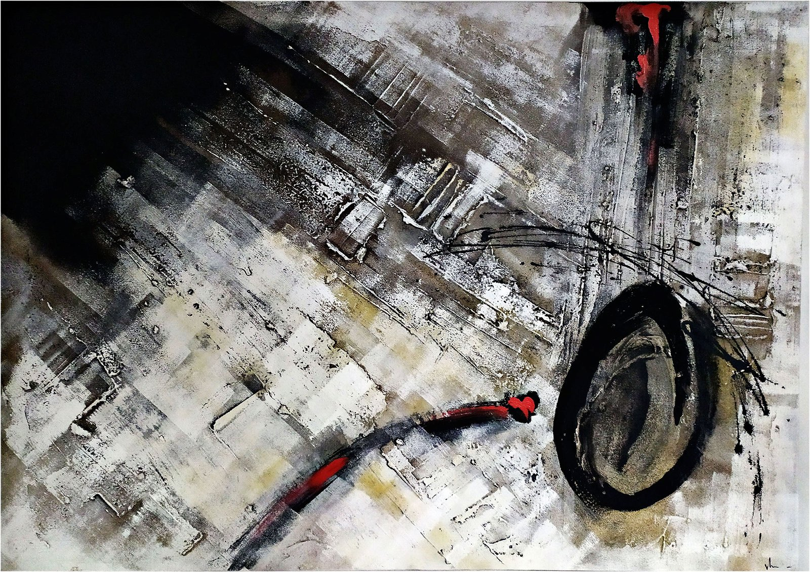 Cuadro pintura original fuego cero nueve