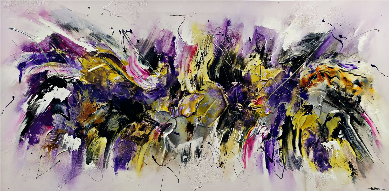 Cuadro pintura original violetas