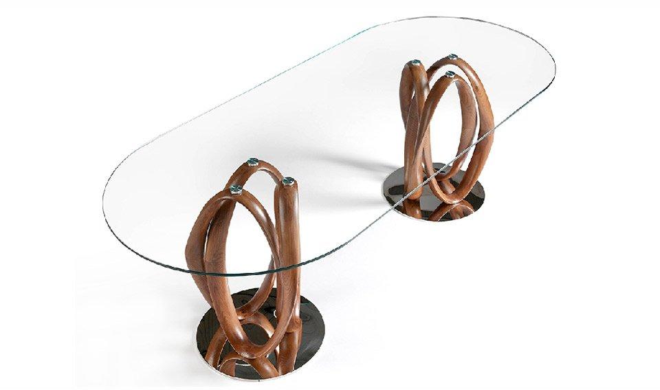Mesa de comedor ovalada nogal y cristal Taveli