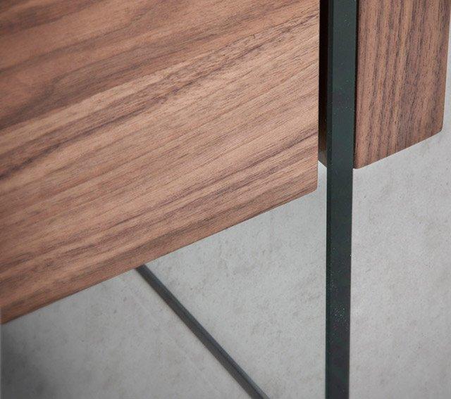 Mesa de centro 2 cajones nogal y cristal Munio