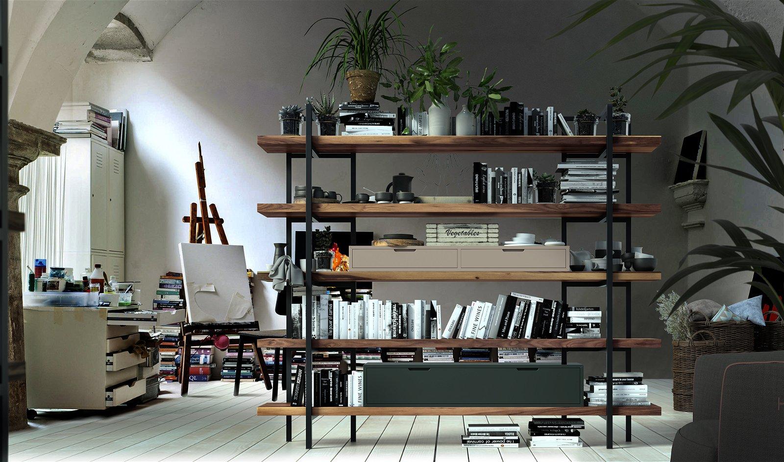 Librería 2 cajones industrial Loft Fusion
