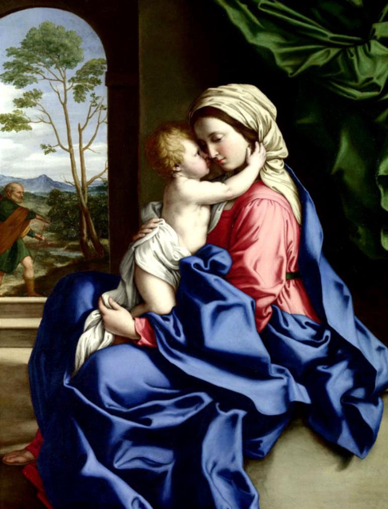 Cuadro canvas la virgen y el infante abrazados