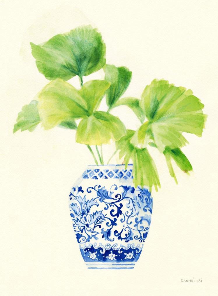 Cuadro canvas jarron chino con palmera