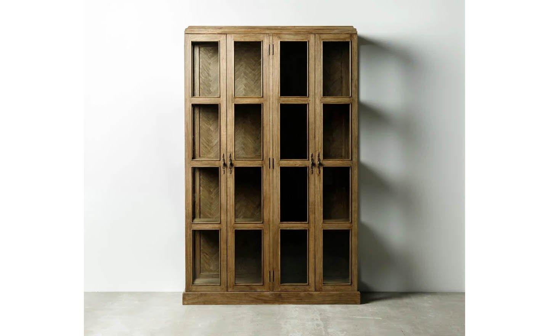 Vitrina de madera natural 4 puertas 126