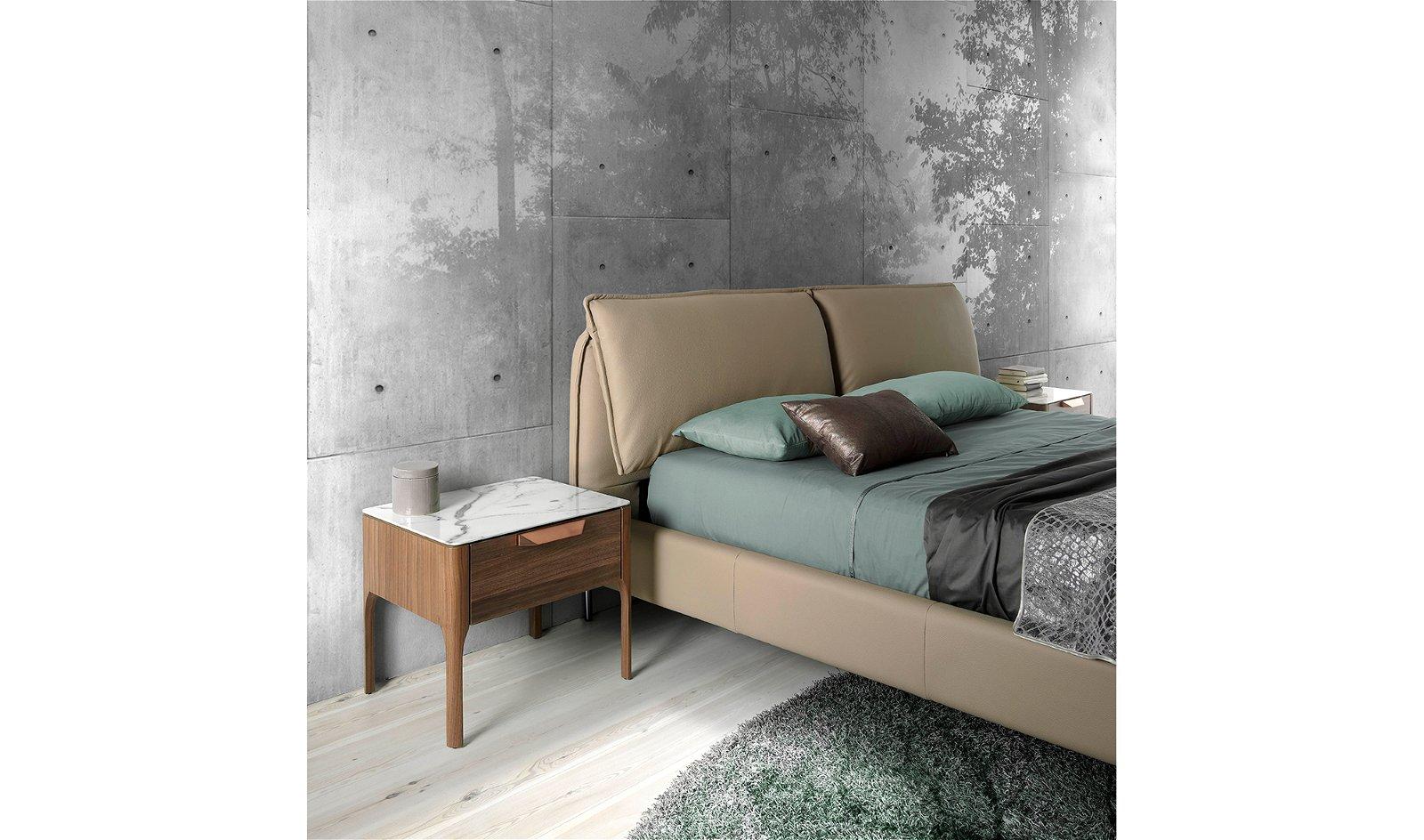 Cama moderna tapizada cabecero elevable Leone para colchón 180x200