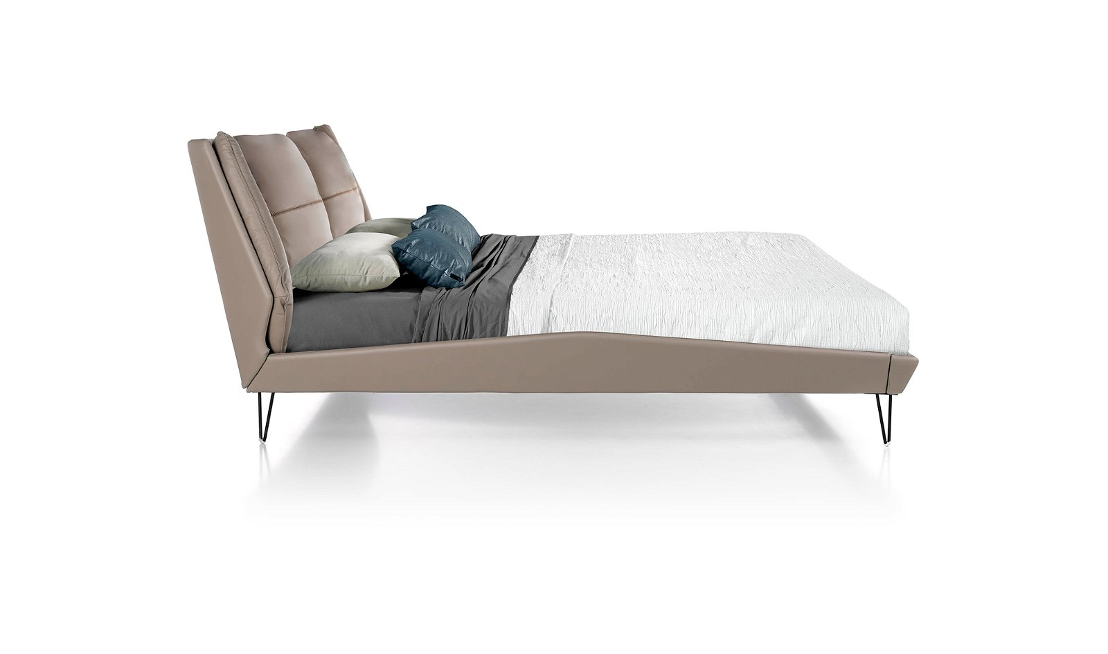 Cama tapizada piel Nicola para colchón 180x200