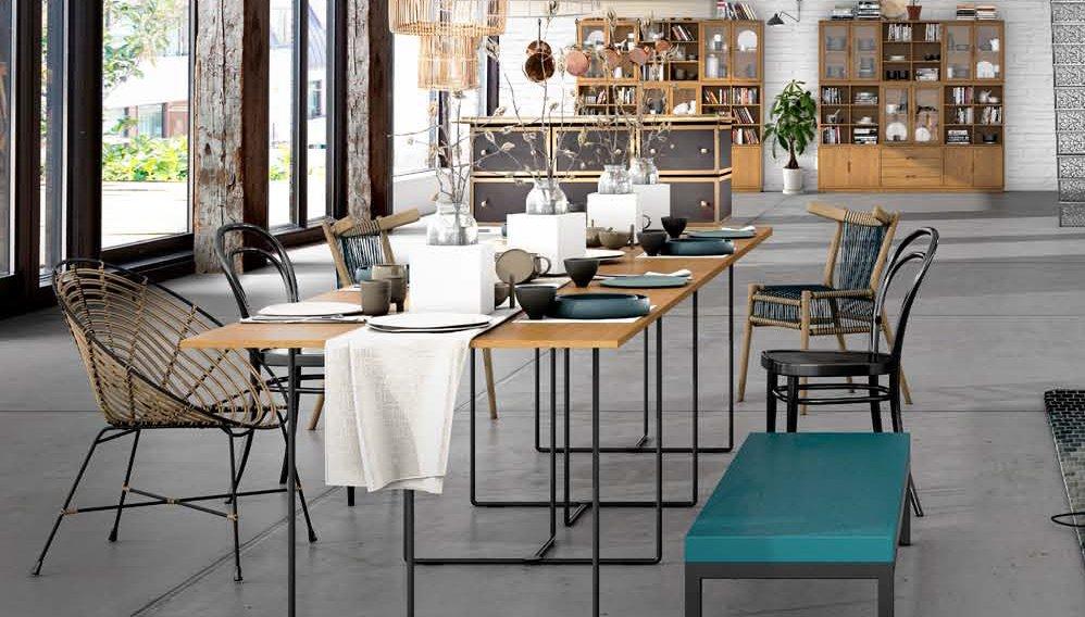 Mesa de comedor industrial Loft Natur