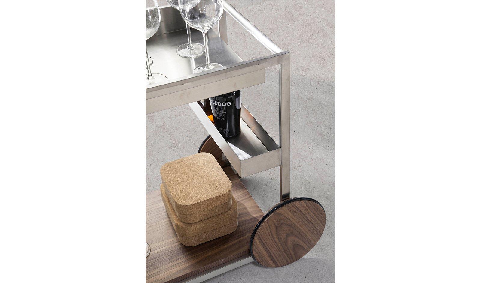 Carrito minibar moderno nogal y acero Leonardo