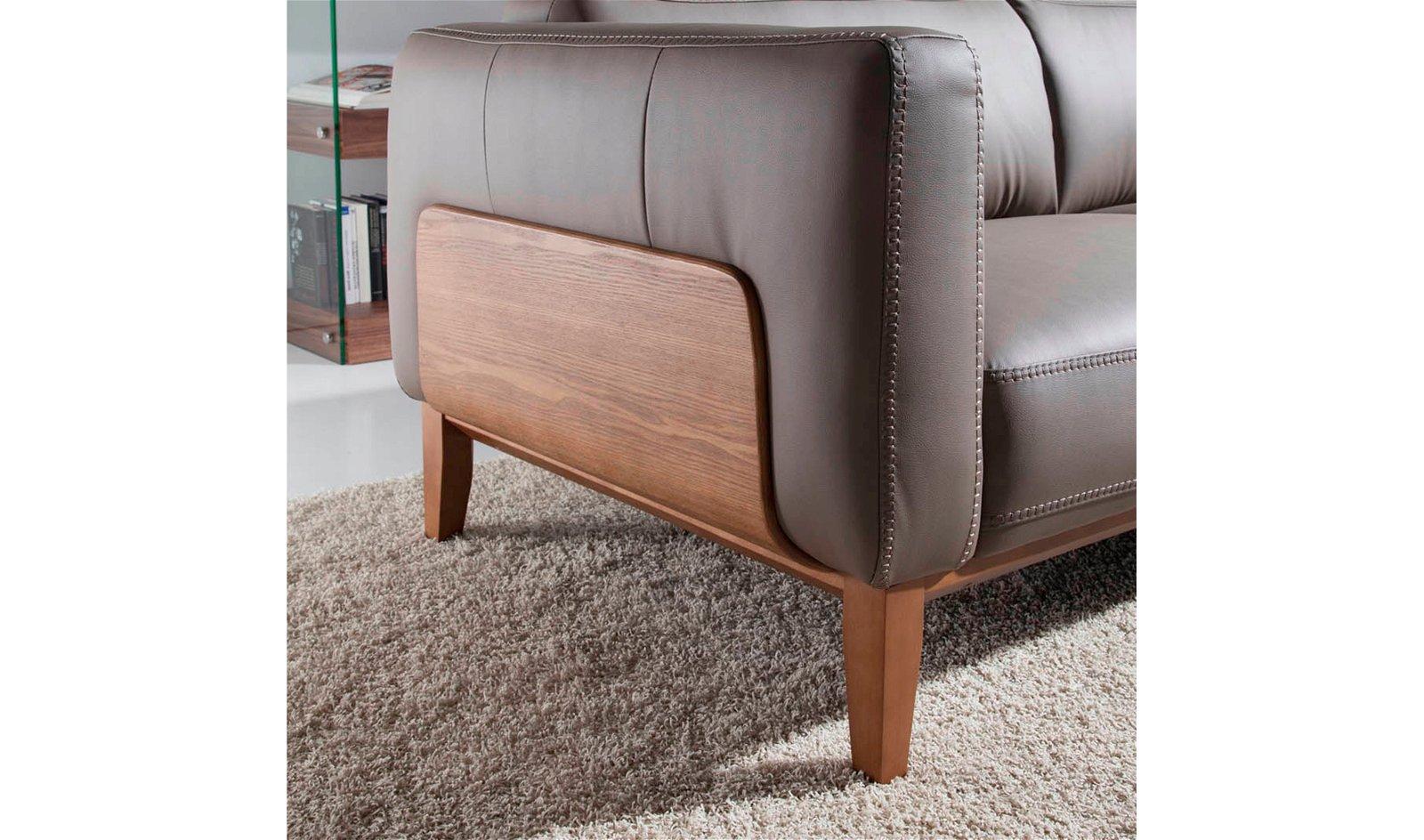 Sofá moderno nogal y piel Mazzini