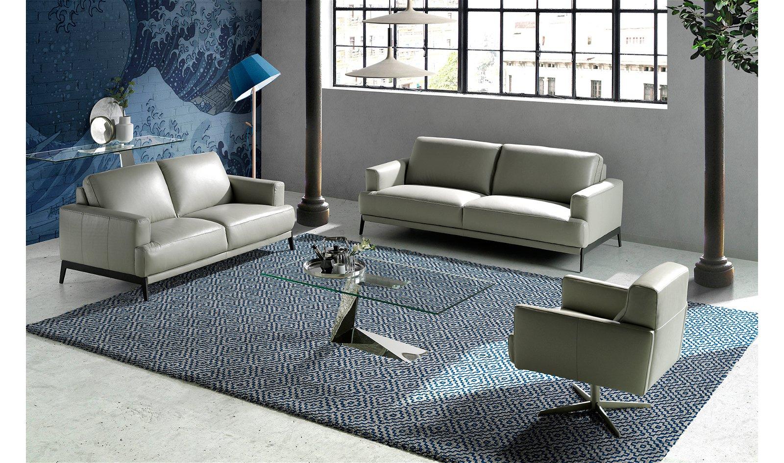 Sofá moderno Piel y acero Otranto