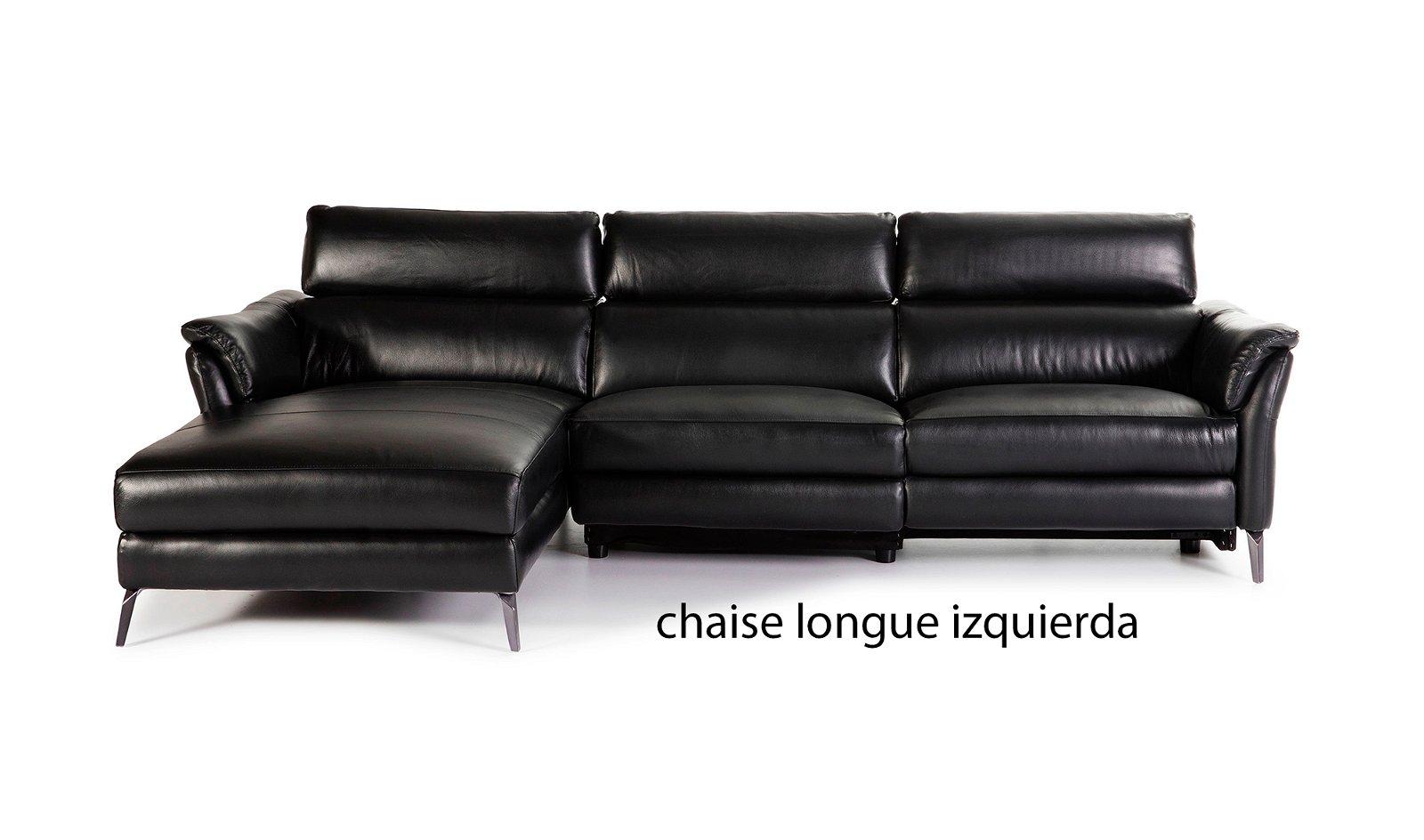 Sofá con chaise longue moderno piel y acero Tremezzina