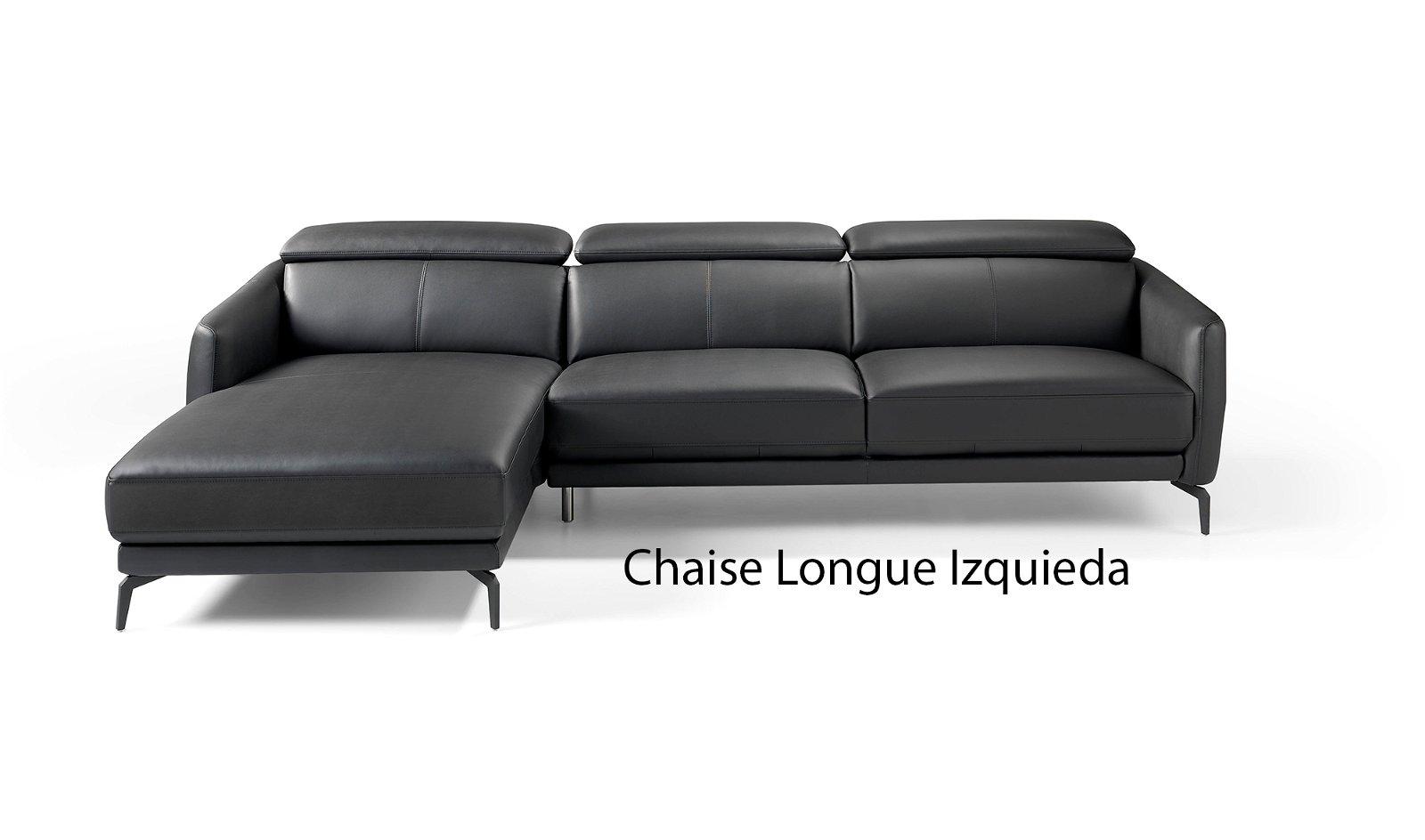 Sofá con chaise longue moderno piel y acero Atrani