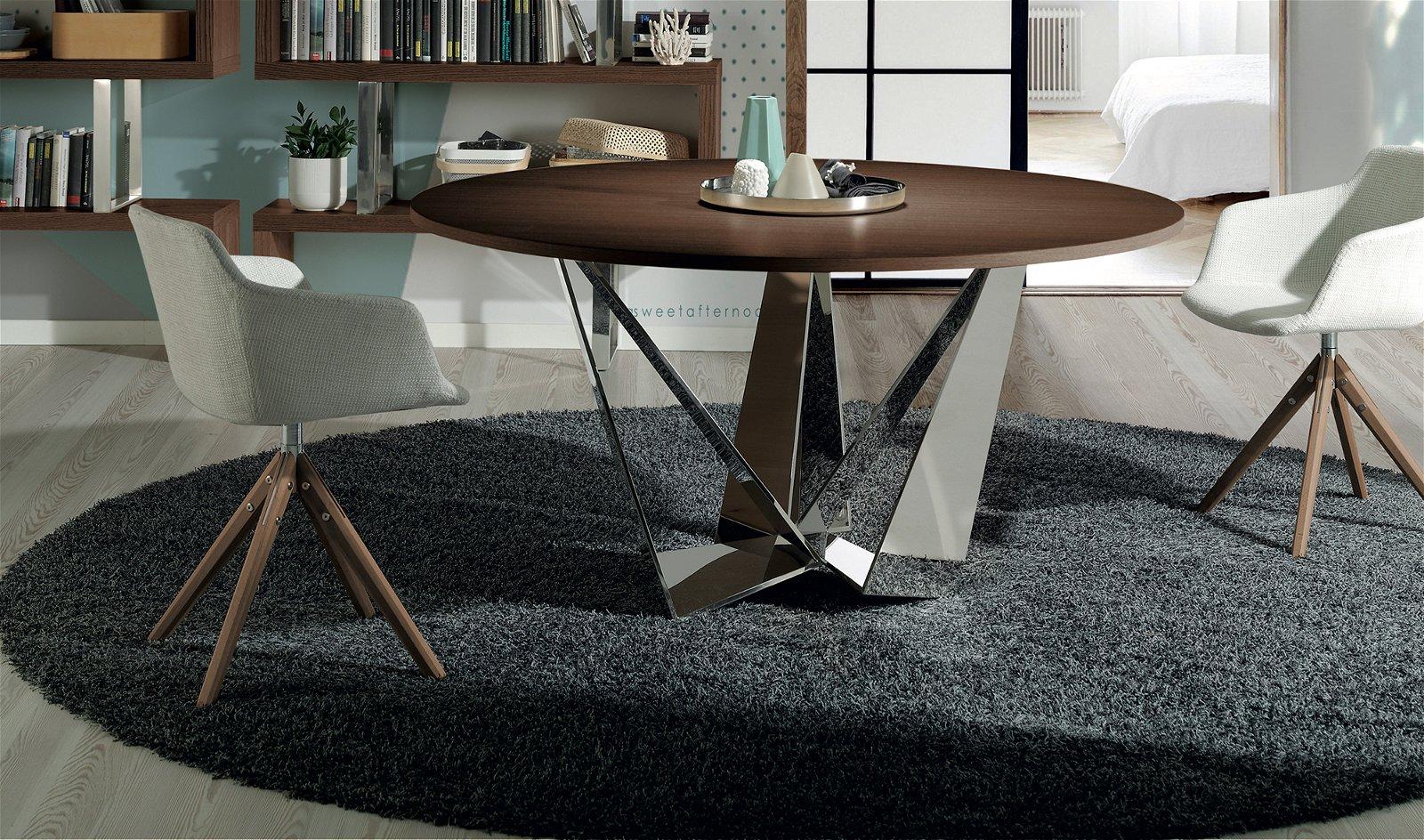 Silla Giratoria moderna tapizada y madera chieuti