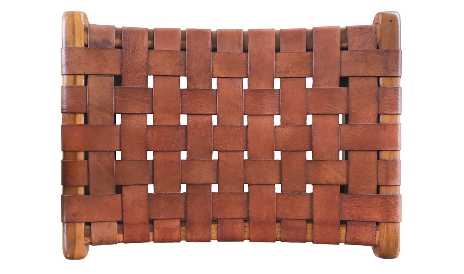 Taburete Trenzado piel y madera Amazonas