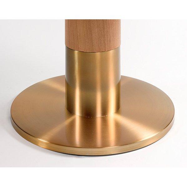 Mesa de comedor redonda fresno y metal dorado Vaal