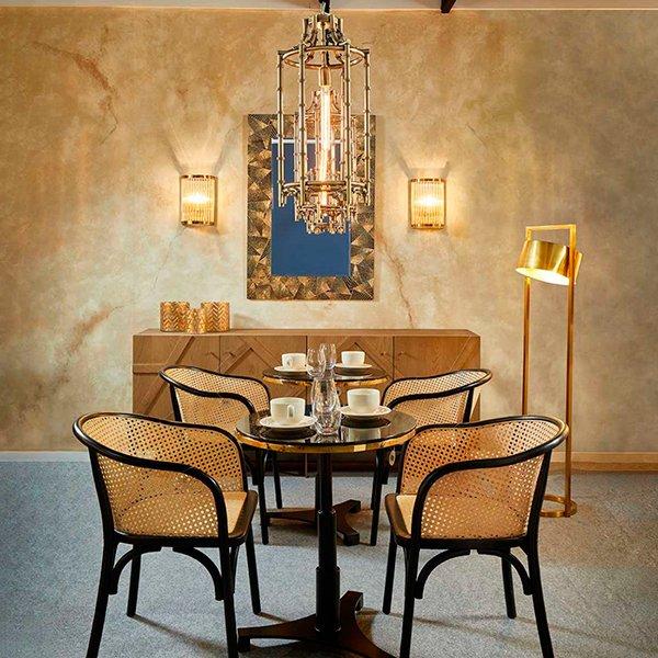 Mesa de comedor redonda Vintage metal y cristal