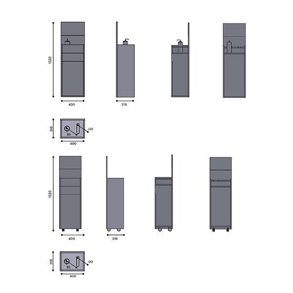 Mueble dispensador moderno protección Covid-19 Wellcome retail