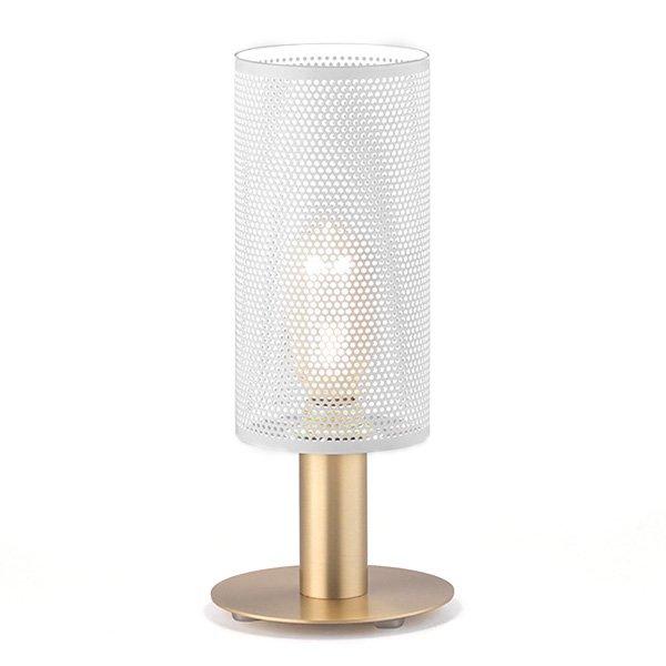 Lámpara de sobremesa dorada con tulipa blanca