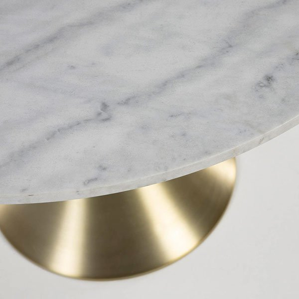 Mesa de comedor moderna redonda mármol y dorado Boot