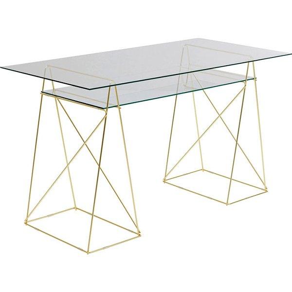 Mesa de escritorio moderna polar latón y cristal