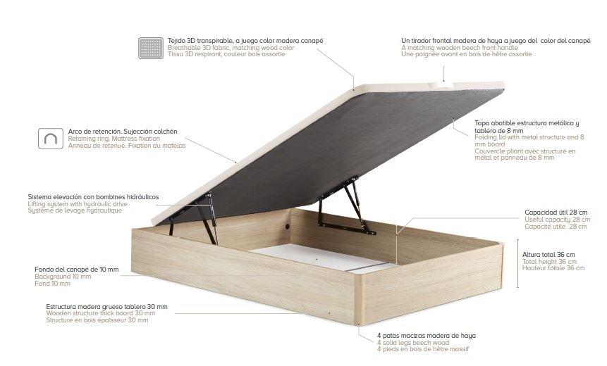 Canapé elevable madera modelo 400