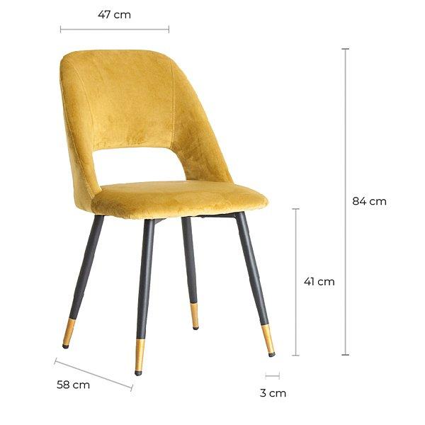 Silla tapizada en terciopelo mostaza patas negras y metal dorado
