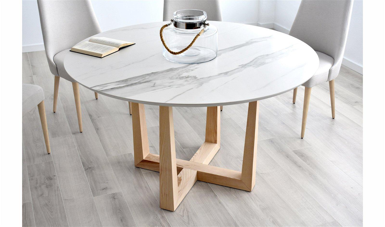 Mesa de comedor redonda porcelánico Ostein