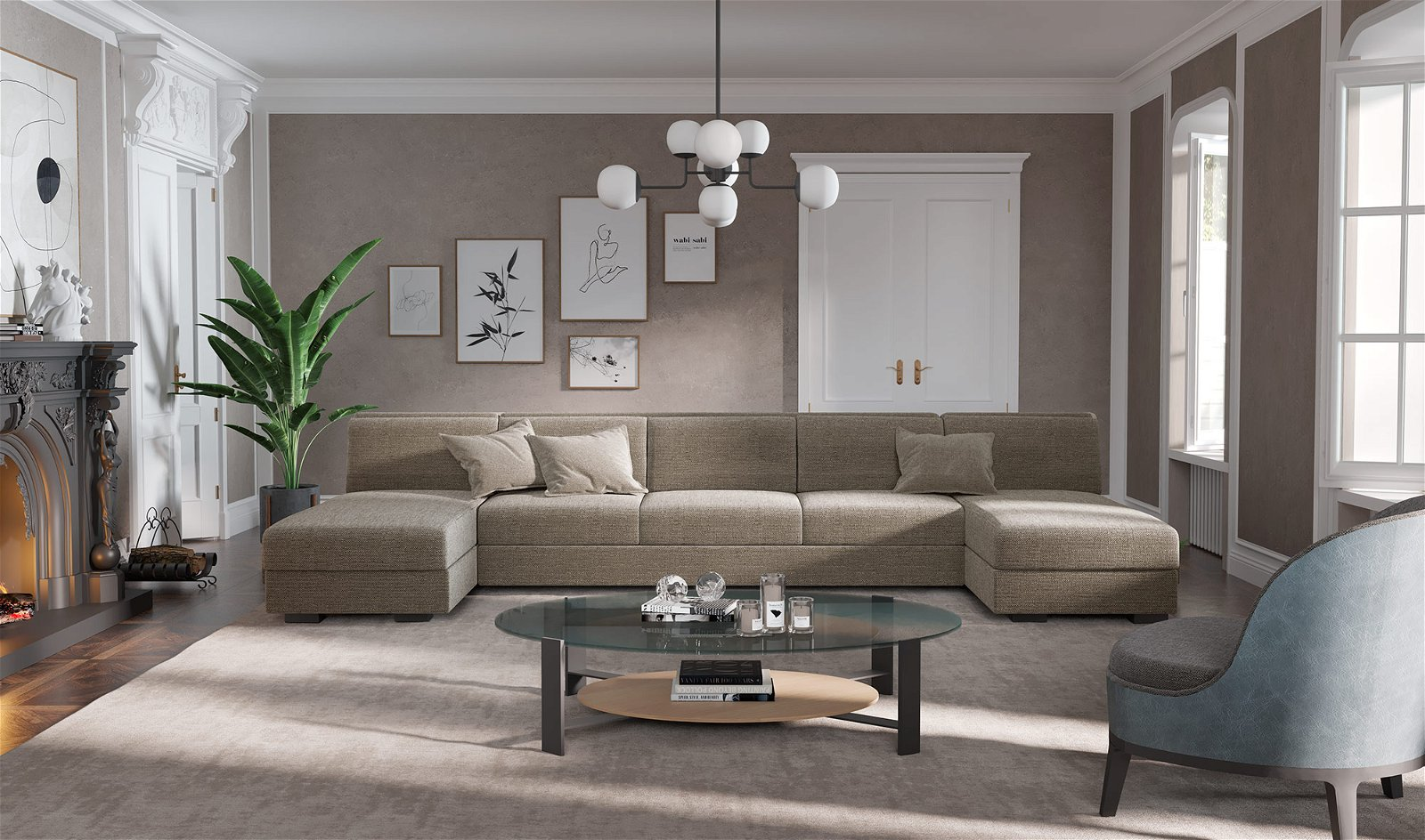 Sofá doble chaise longue de diseño Manhattan
