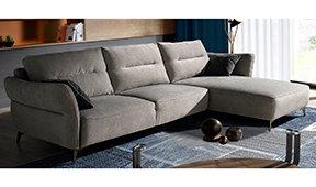 Sofá con chaise longue moderno tapizado y acero Dozza