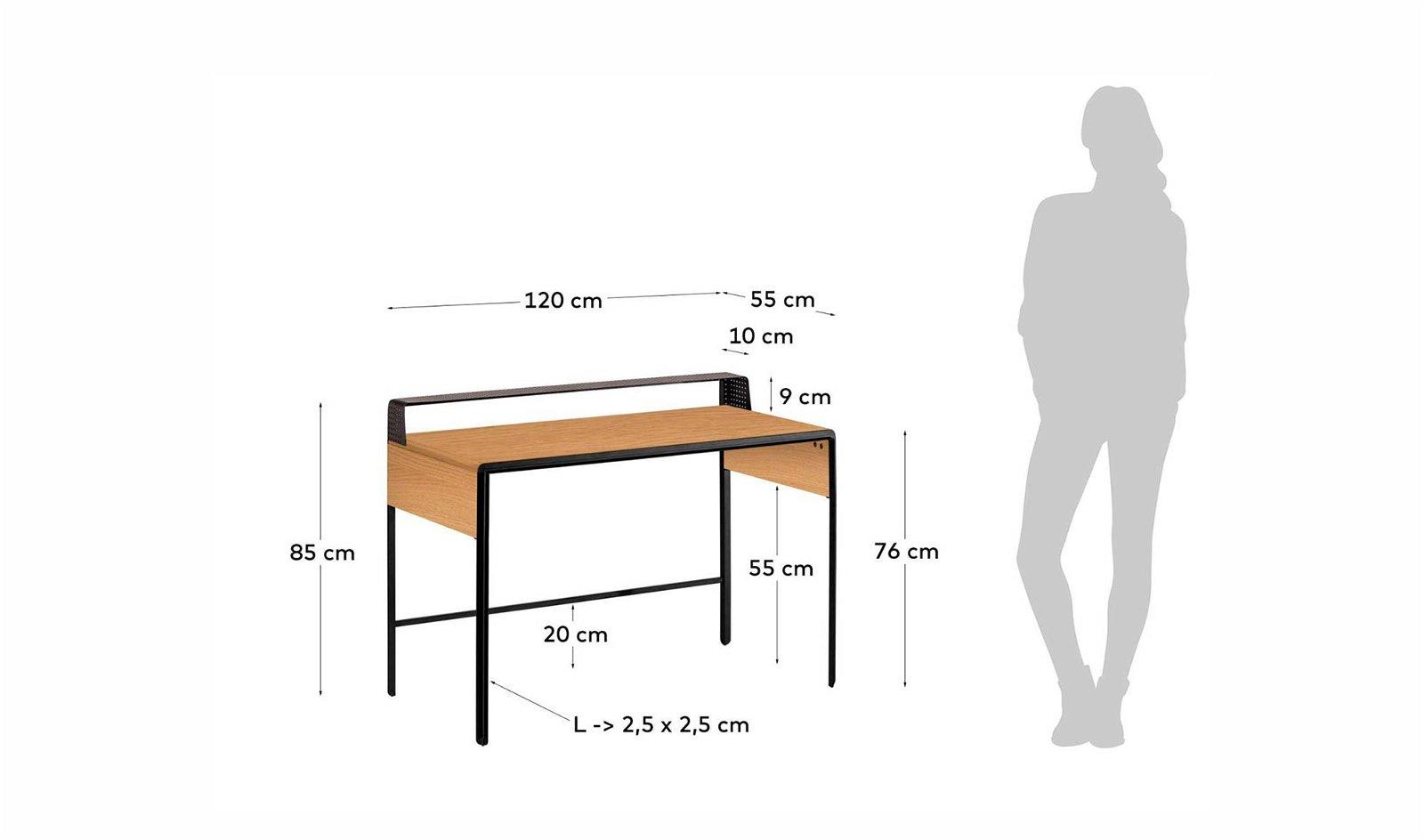Mesa de escritorio roble industrial Dynaria