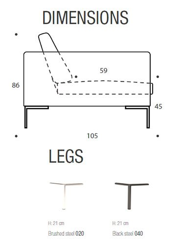 Sofá con chaise longue Charles terciopelo