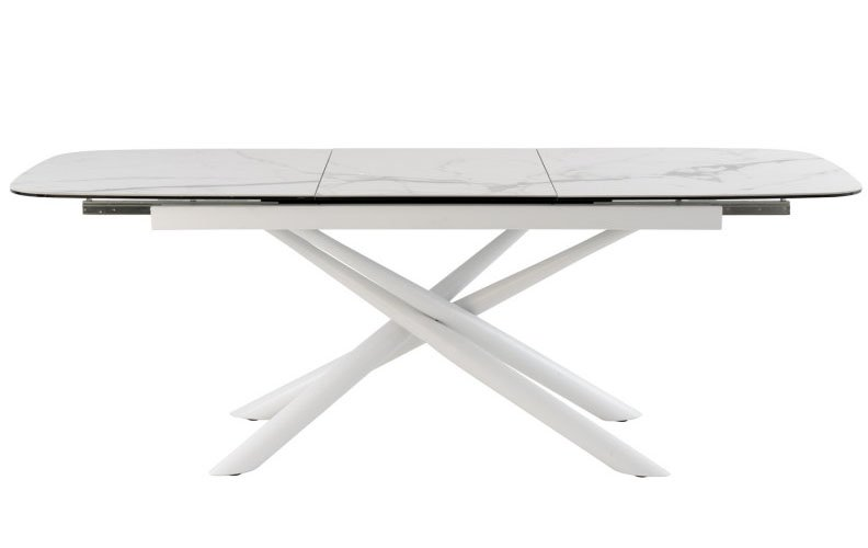 Mesa de comedor oval extensible porcelánica blanca
