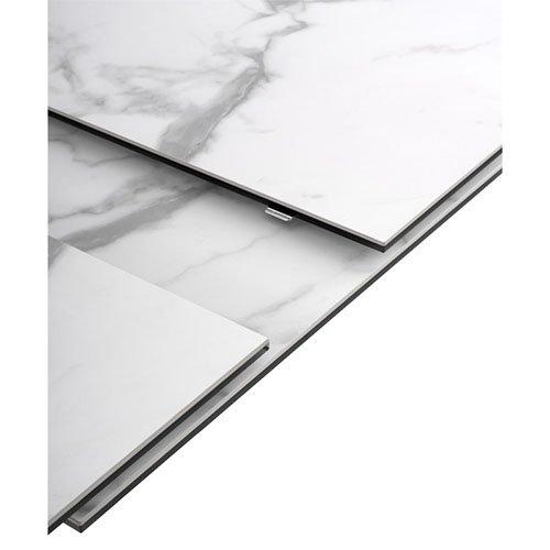 Mesa de comedor oval extensible porcelánica blanca 180 cms.