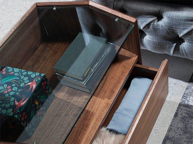 Mesa de noche hexágonal nogal y cristal