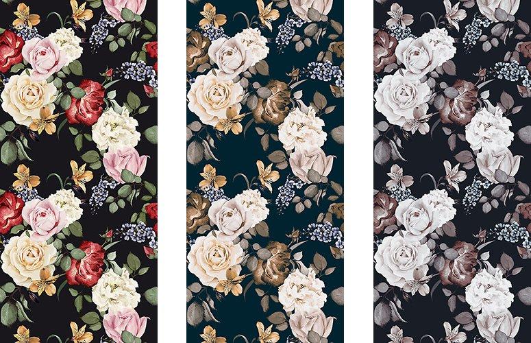 Papel pintado textil lienzo autoadhesivo Roses