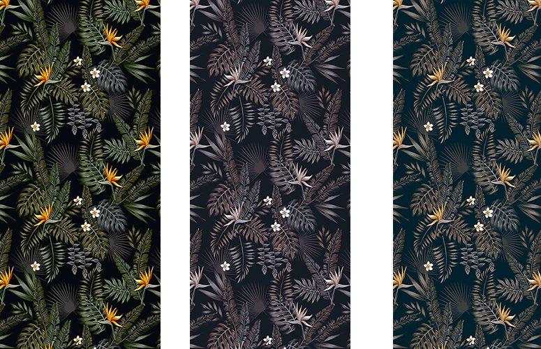 Papel pintado textil lienzo autoadhesivo Tropical Dark