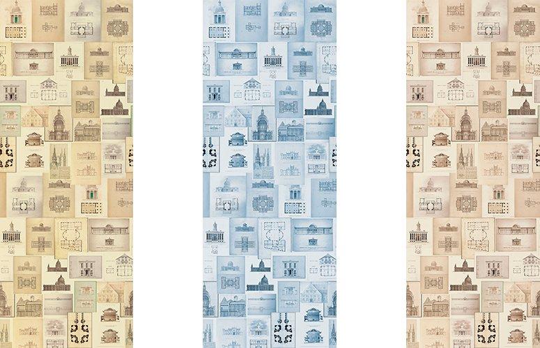Papel pintado textil lienzo autoadhesivo Architectal