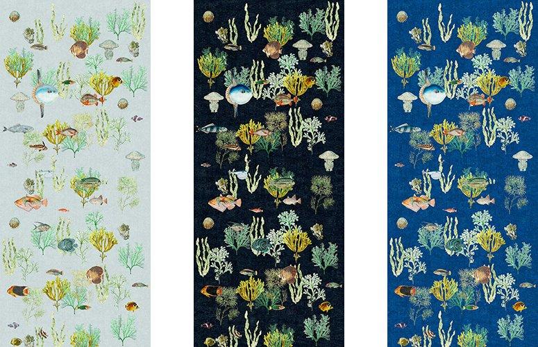 Papel pintado textil lienzo autoadhesivo Reef