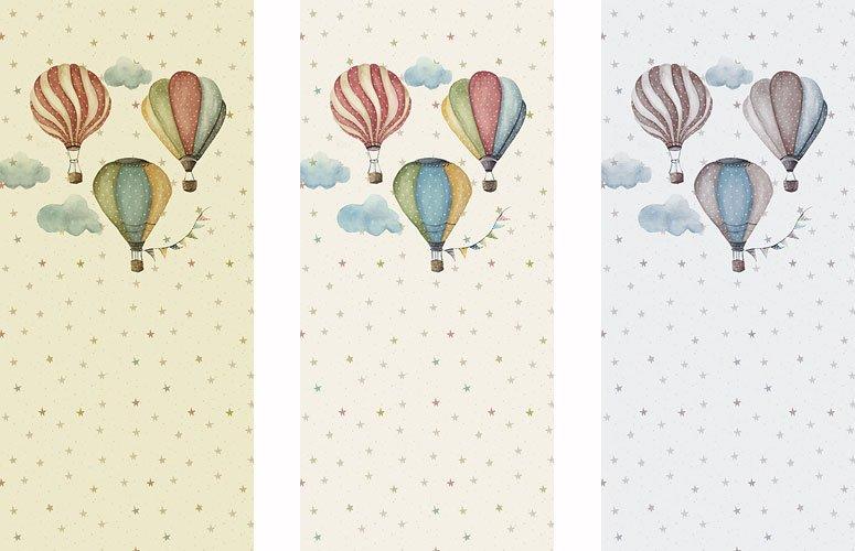 Papel pintado textil lienzo autoadhesivo Ballons