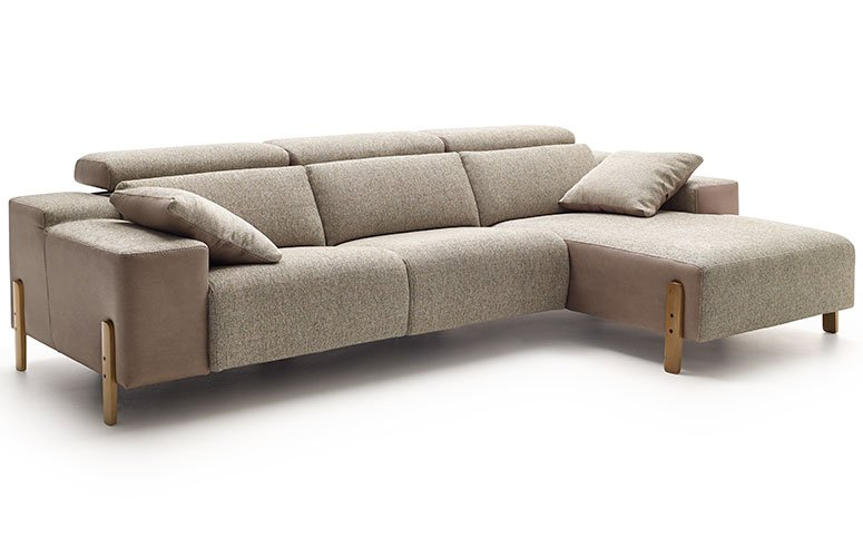 Sofá con chiase longue tapizado relax Paupa