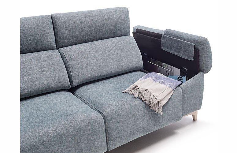 Sofá tapizado madera con chaise longue relax Noopi