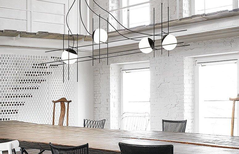 Lámpara de techo Plot Frame con 4 luminarias