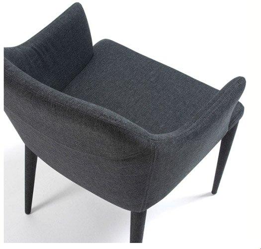 Sillón tapizado gris oscuro moderno Nadai