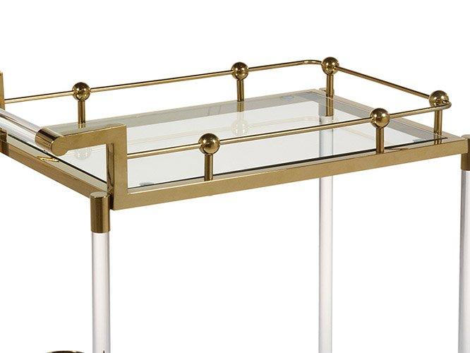 Mueble bar con ruedas industrial oro
