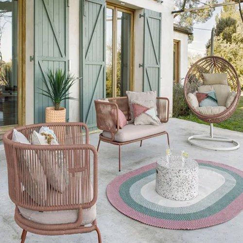 Alfombra de exterior rosa/verde Dalila