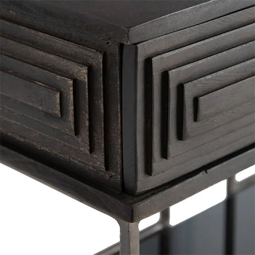 Consola rectangular geometrica marron