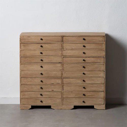 mueble de 20 cajones de madera natural