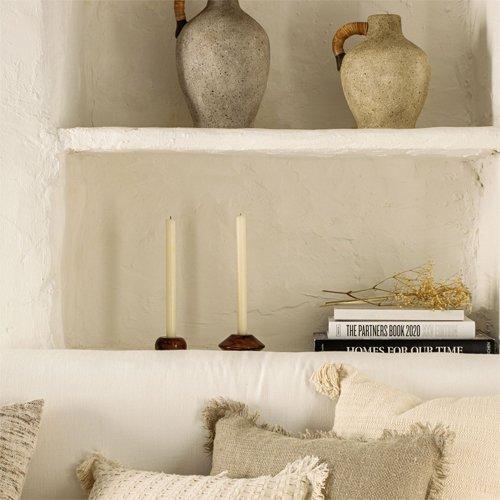 Set de 2 candelabros madera maciza acacia Tecia