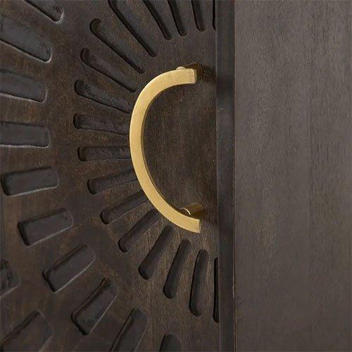 aparador madera oscura y dorado