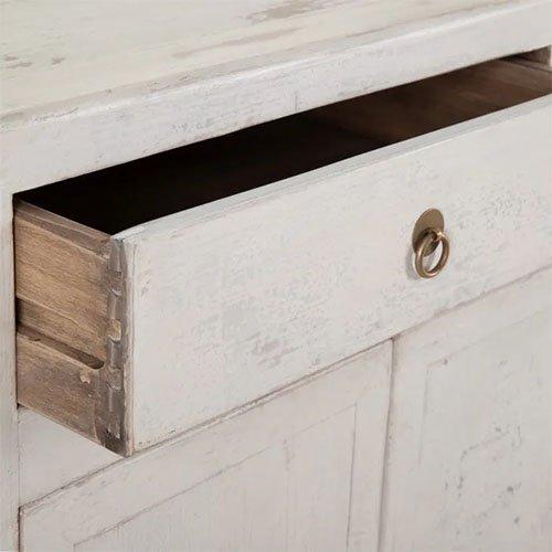 aparador de madera de olmo en blanco rozado
